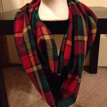 Christmas Womens Flannel Plaid Infinity Scarf