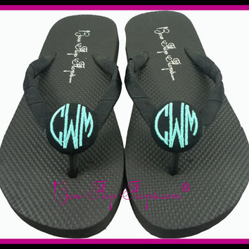 Monogram Flip Flops 3 initial Custom personalized Bridesmaid Bridal Party Wedding Bride Flower Girl Gift sandals pedicure weddings