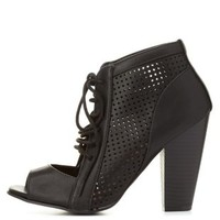 Black Perforated Peep Toe Lace-Up Heels by Charlotte Russe
