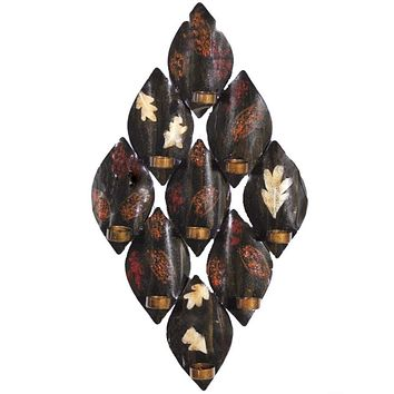 Antique Leaf-Print Wall Decor With Candle Holder, Brown By Benzara