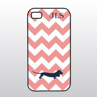 Dog iPhone Case - Dachshund iPhone - Navy Blue Doxie on Coral Chevron - Monogrammed Gift for Dog Lover
