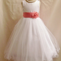 Flower Girl Dress WHITE/Guava-Coral FL Wedding Children Easter Bridesmaid Communion Guava Coral Rose Purple White Peach Orange Pink