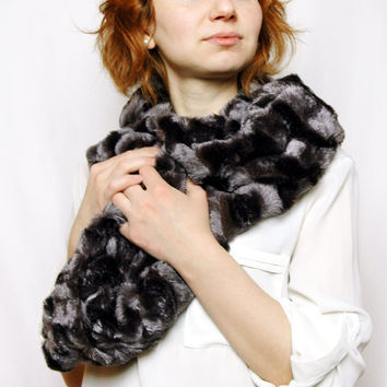Brown Fluffy Striped Plush Cowl , Faux Fur Loop Infinity Scarf , Valentine's Day Gift Idea, For Mother, Girlfriend