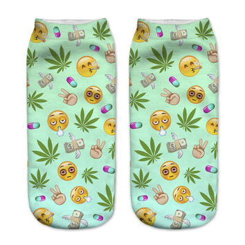 New! 3D Funny Imoji Weed Ankle Socks For Women