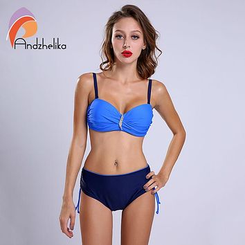 Andzhelika L-4XL New Bikini Set Swimsuit Women Sexy Plus Size Swimwear Solid Diamond High Waist swimsuit Swim Bathing Suits
