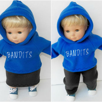 bitty baby clothes, twin boy and girl dolls 15 inch, royal blue hoodies hooded sweatshirts, black fleece skirt & pants, 4 pcs,custom order