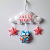 Baby Mobile - Nursery Decor - Children's Wall Art - Sleep tight sleepy owl mobile.