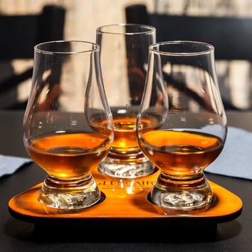 Glencairn Glass Tasting Set of (3) 6 oz. Glasses with Tray