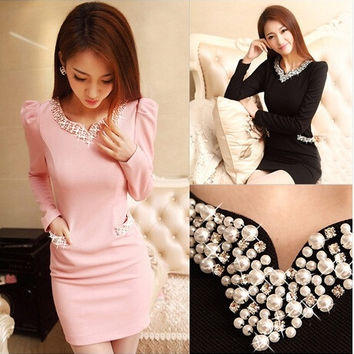 New arrival 2014 Autumn Winter dress fashion women Diamond V-Neck long sleeve casual dress bodycon dresses women black and pink = 1956574532