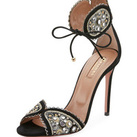 Aquazzura Jaipur Beaded Ankle-Tie Sandal