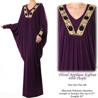 Dubai Batwing Kaftan Jersey Islamic Abaya Maxi Dress - One Size Fits All M/L/XL/1X/2X - 4808 Purple