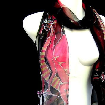 Silk Scarf Hand Painted Red Dragons Sitting On Swords Black Fantasy Goth