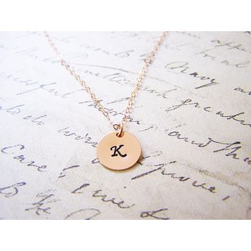 Dainty 14k Rose Gold Filled Stamped Initial Disc Monogrammed Necklace / Gift for Her