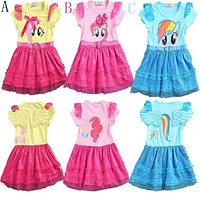 2017 little girls new fashion color gauze dress girl tutu dress My pony kids cartoon princess baby lace sequin dress clothes