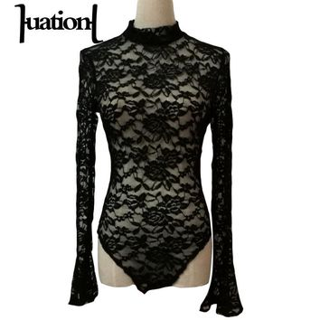 Huation Sexy Perspective Lace Bodysuit Women Bodysuits Long Sleeve Jumpsuits Rompers Backless Pagoda Sleeve Bodysuits XSY2340