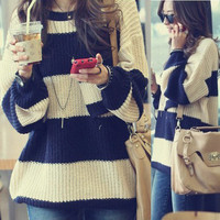 Retro Womens Striped Pullover Sweater Jumpers Knitting Knit Tops Crew Neck
