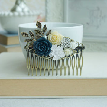 Blue, White, Ivory Wedding Large Comb. Navy Rose, Diamente, White Brass Leaf Hair Comb. Bridesmaid Gift. Blue Rustic Wedding. Something Blue