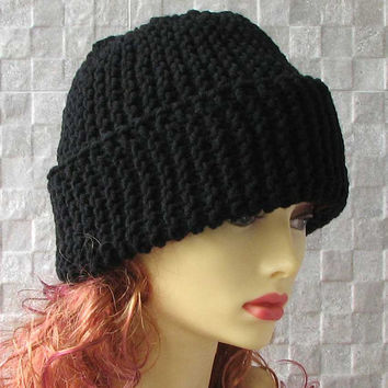 Black Men's Knitted Hat Super Chunky Hand Knit Hat Slouchy Beanie Teen Hat Winter Accessories
