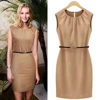 Pleat-Neck Cap Sleeve Bodycon Dress With Belt