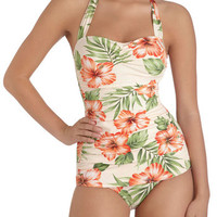 Esther Williams Rockabilly Halter Bathing Beauty One Piece in Hibiscus