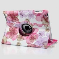 Ctech Stylish Lucky Flowers Case With 360 degrees Rotating Swivel Stand-Pink