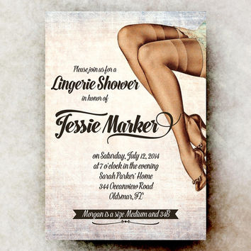 Lingerie Bridal Shower Invitation - Retro Bridal Shower Invitation, sexy bridal shower, printable invitation