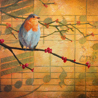 "Original painting, textured music and robin bird on red flowers, ""Robin's Song II"""