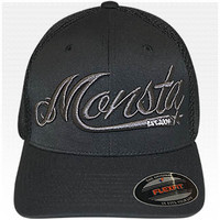 Monsta (OldSchool Script) MeshBack-Fitted Cap-74: BK/BK : Monsta Clothing Co, Bodybuilding Clothing, Powerlifting Apparel, Weightlifting Shirts, Workout Clothes and MORE