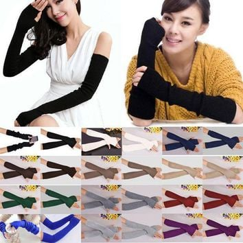 40cm Spring Winter Women Ladies Girl Long Cashmere Blend Fingerless Gloves Arm Sleeve Warmers Mittens Arm Warmers