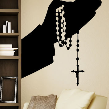 Vinyl Wall Decal Sticker Rosary Hands Silhouette #5460