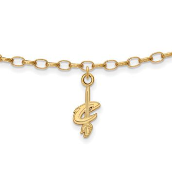 NBA Cleveland Cavs Anklet in 18k Yellow Gold And Sterling Silver, 9 In