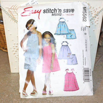 Easy Stitch 'n save M5562 by McCall's Size B 7-8-10-12-14 Girls Summer Dress and Shorts Sewing Pattern 2008 Used