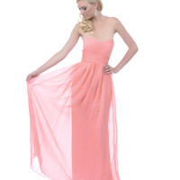 2013 Homecoming Dresses - Coral Sweetheart Crossover Strapless Long Dress - Unique Vintage - Prom dresses, retro dresses, retro swimsuits.