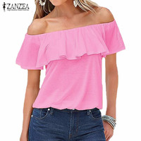 Women Sexy Off Shoulder Tee Tops 2016 Summer Blusas Casual Solid Blouses Ladies Strapless Flouncing Short Sleeve Plus Size Shirt