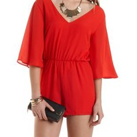 Angel Sleeve Chiffon Romper by Charlotte Russe - Red