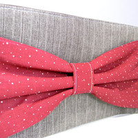 Bow Clutch Purse - Red Bow Tie - Tweed - Doctor Inspired - Wristlet Clutch
