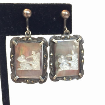 Vintage Silver Cameo Marcasite Earrings, Antique Mother of Pearl Dangle Earrings, European 800 Silver Drop Earrings, Estate Jewelry MOP