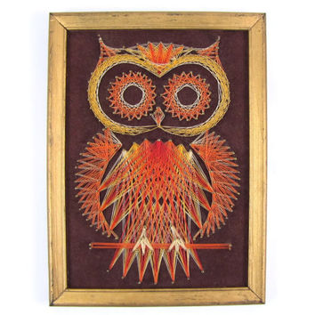 Orange Owl - Vintage Owl String Art, 1970s Wall Hanging, Warm Autumn Colors, Framed & Ready to Hang, Orange and Yellow, Big Eyes