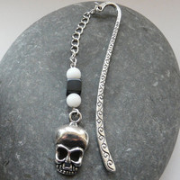 Customisable Tibetan Silver Skull Gemstone Bookmark Free Worldwide Shipping