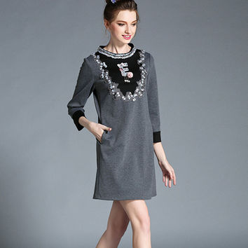 923d18598ca7e Three Quarter Sleeve Knitted Viscose Shift Dress Autumn Embellis