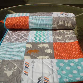 Baby quilt,baby boy bedding,baby girl quilt,teal,grey,orange,aqua,deer bear quilt,rustic quilt,woodland,organic,arrow,chevron,Bright Woodsy