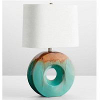 Glazed Ceramic Ring Table Lamp - Shades of Light