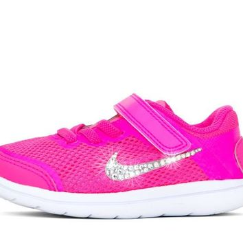 CLEARANCE - Girls' Nike Flex 2016 - Crystallized Swarovski Swoosh - Infant/Toddler (2c-10c) - Pink