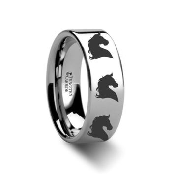 Horse Head Flat Style Tungsten Ring