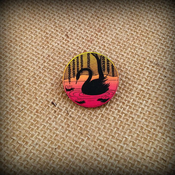Swan Pin - Swan Brooch - Swan Jewelry - Beautiful Swan - Graceful Swan - Sunset Pin - Sunset Brooch - Shrink Plastic Pin - Shrink Art
