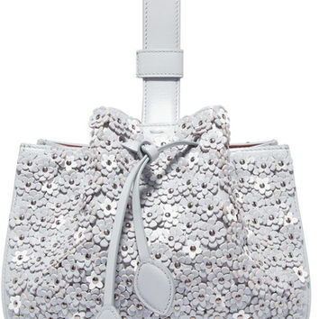 Alaïa - Laser-cut appliquéd leather wristlet bag