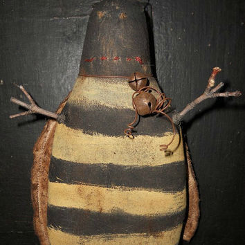 SALE Barney Bee Summer Insect Primitive yellow and black doll ornament