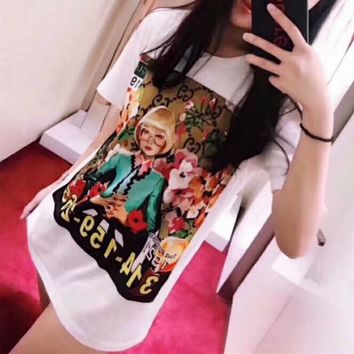 gucci ignasi monreal personality oil painting portrait print women casual short sleeve t shirt top tee