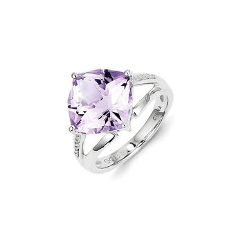 Sterling Silver Diamond and Rose De France Amethyst Ring