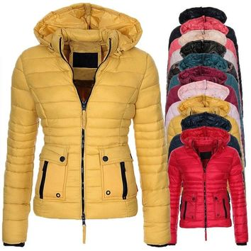 New Women's Fashion Thicken Warm Down Cotton-Padded Winter puffer Jacket Hooded quilted Coat